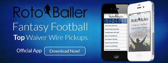 RotoBaller Fantasy Football NFL Waiver Wire Pickups iPhone App