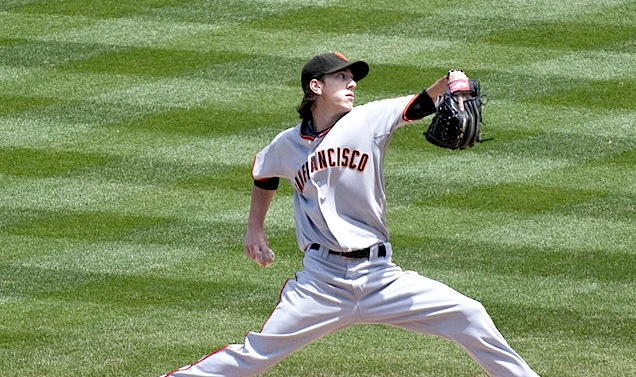 """By SD Dirk on Flickr (Originally posted to Flickr as """"Tim Lincecum"""") [CC BY 2.0 (http://creativecommons.org/licenses/by/2.0)], via Wikimedia Commons"""